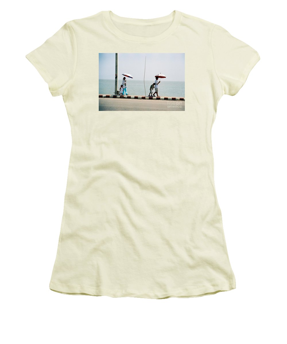 Landscape Women's T-Shirt (Athletic Fit) featuring the photograph A Day By The Sea by Mary Rogers
