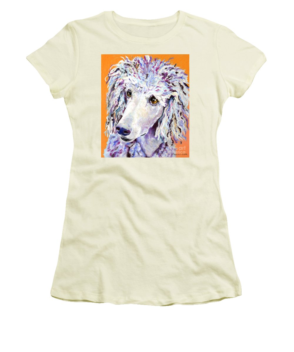 Standard Poodle Women's T-Shirt (Athletic Fit) featuring the pastel Above The Standard  by Pat Saunders-White