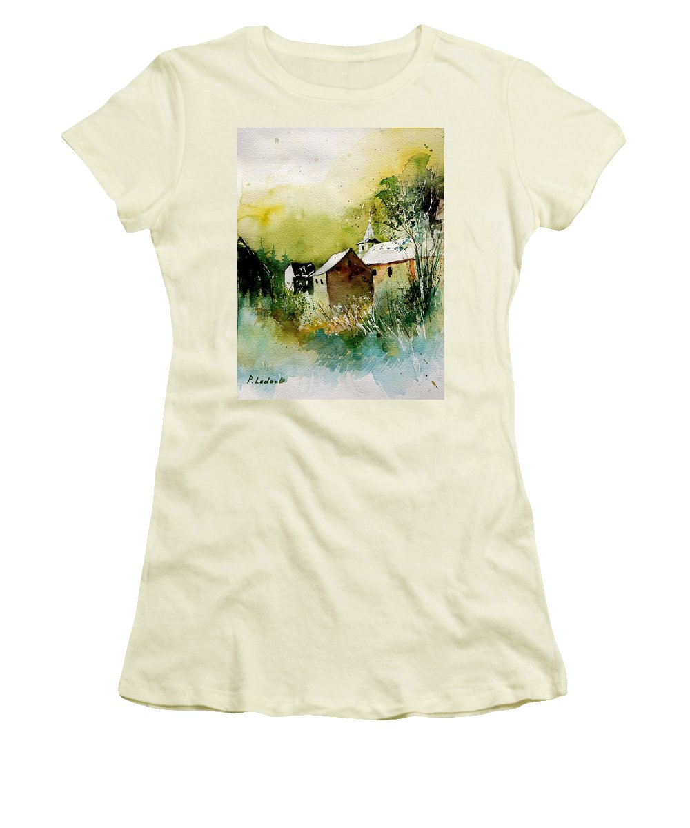 Village Women's T-Shirt (Athletic Fit) featuring the painting Abstract 260608 by Pol Ledent