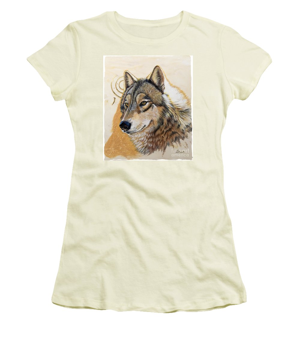 Acrylics Women's T-Shirt (Athletic Fit) featuring the painting Adobe Gold by Sandi Baker