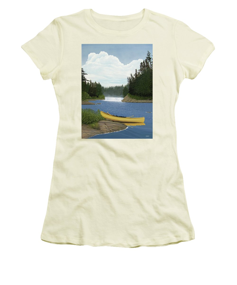 Landscapes Women's T-Shirt (Athletic Fit) featuring the painting After The Rapids by Kenneth M Kirsch