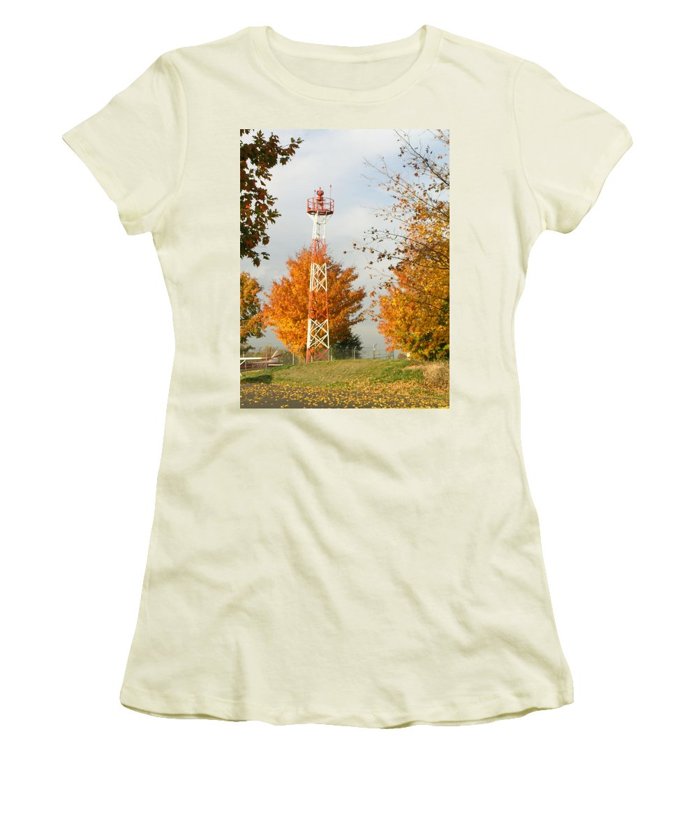 Airport Women's T-Shirt (Athletic Fit) featuring the photograph Airport Tower by Douglas Barnett