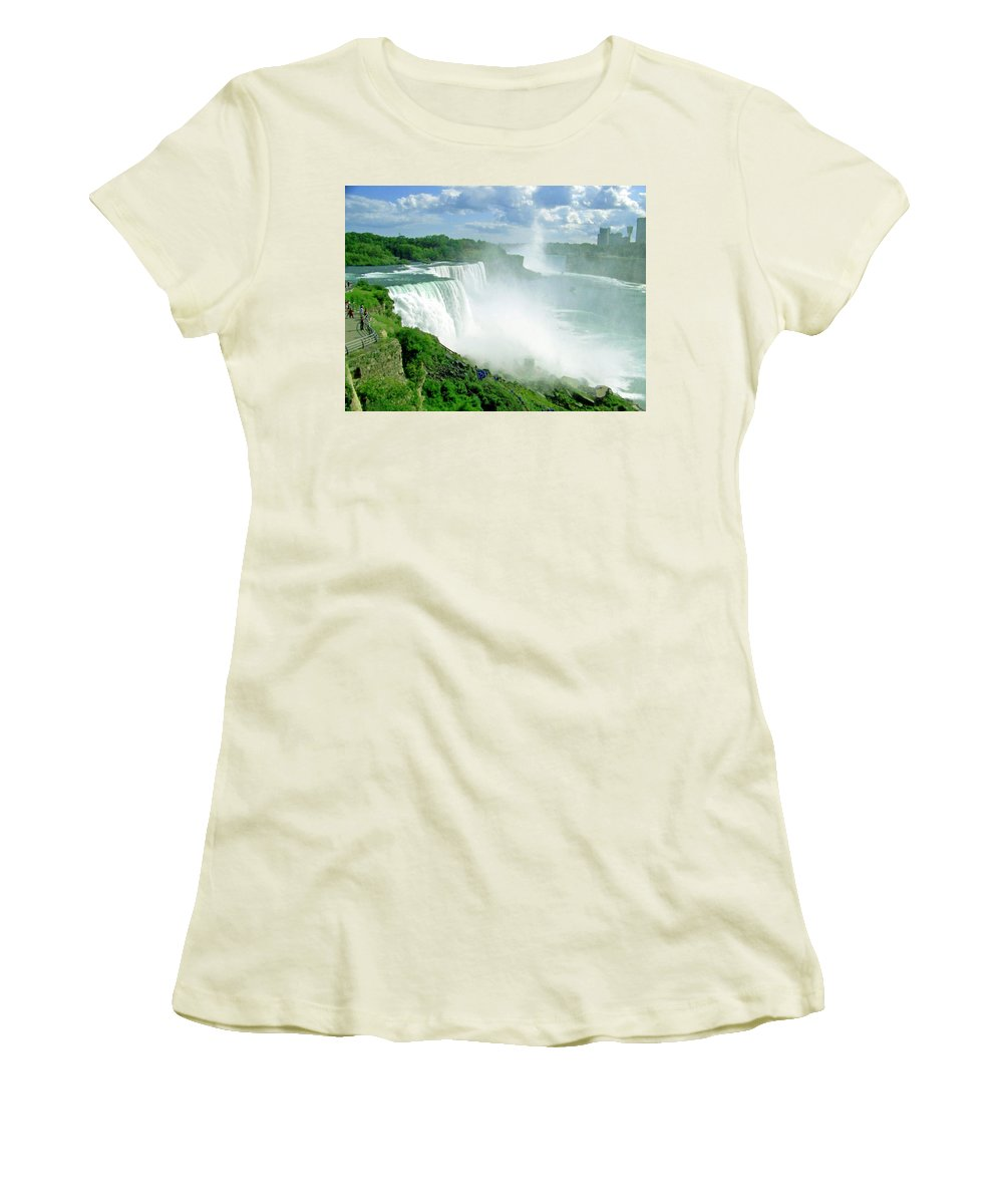 Waterfall Women's T-Shirt (Athletic Fit) featuring the photograph American And Niagra Falls At Niagra by Laurie Paci
