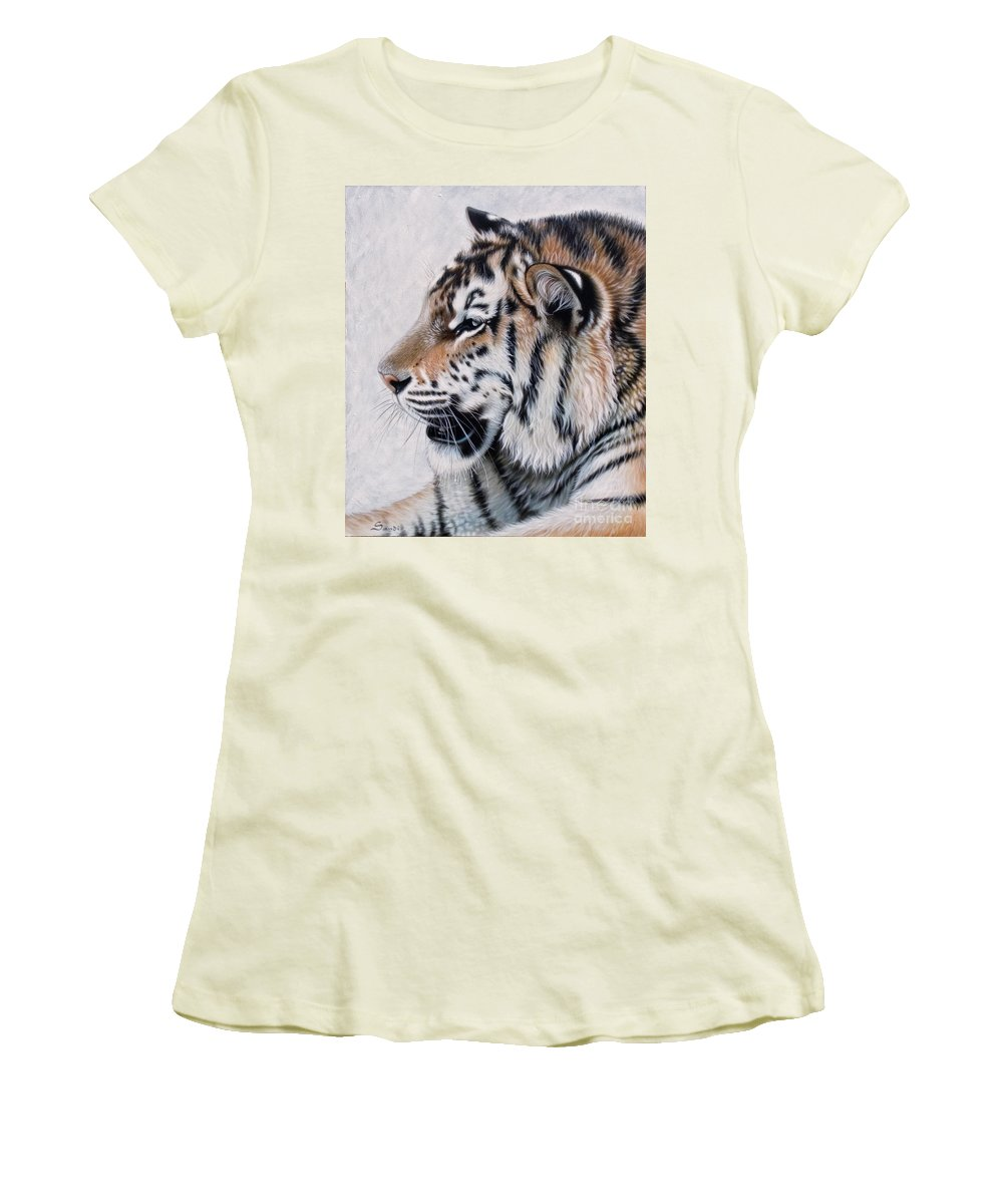 Acrylic Women's T-Shirt (Athletic Fit) featuring the painting Amur by Sandi Baker