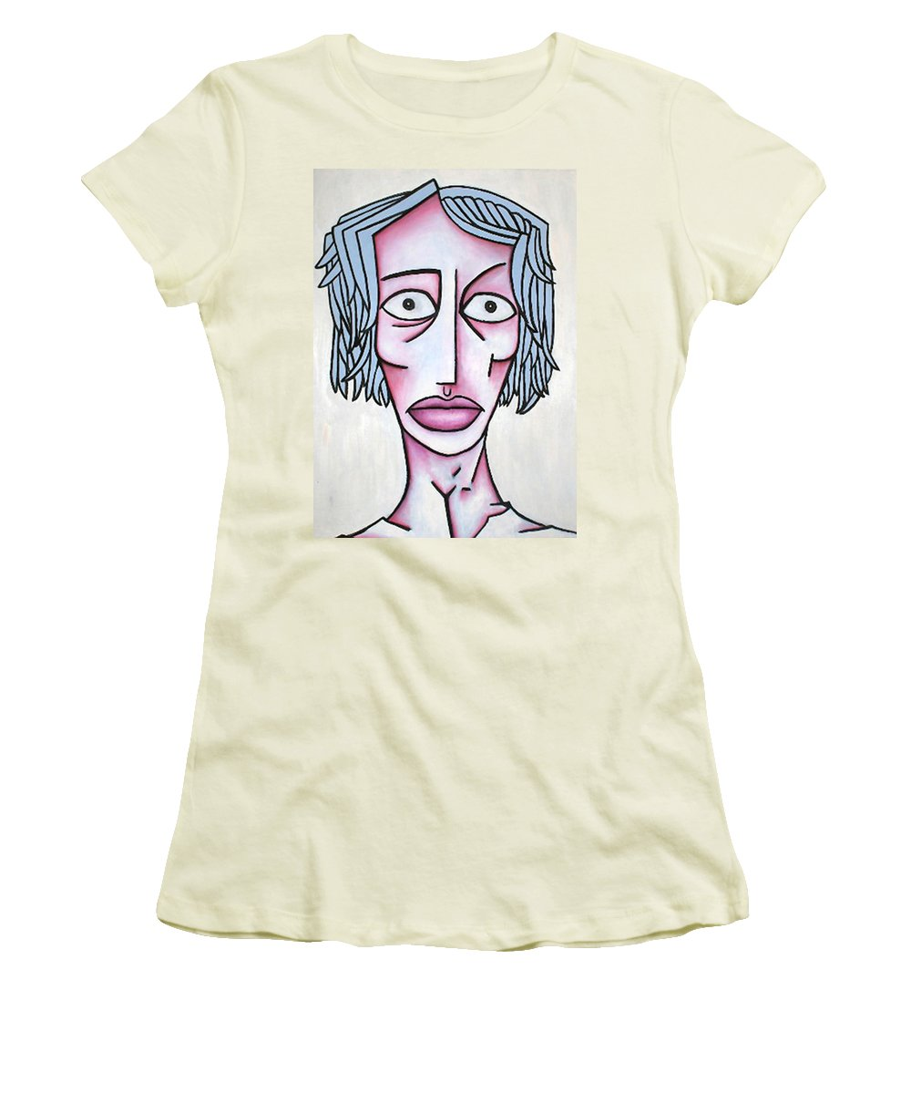 Potrait Women's T-Shirt (Athletic Fit) featuring the painting amy by Thomas Valentine