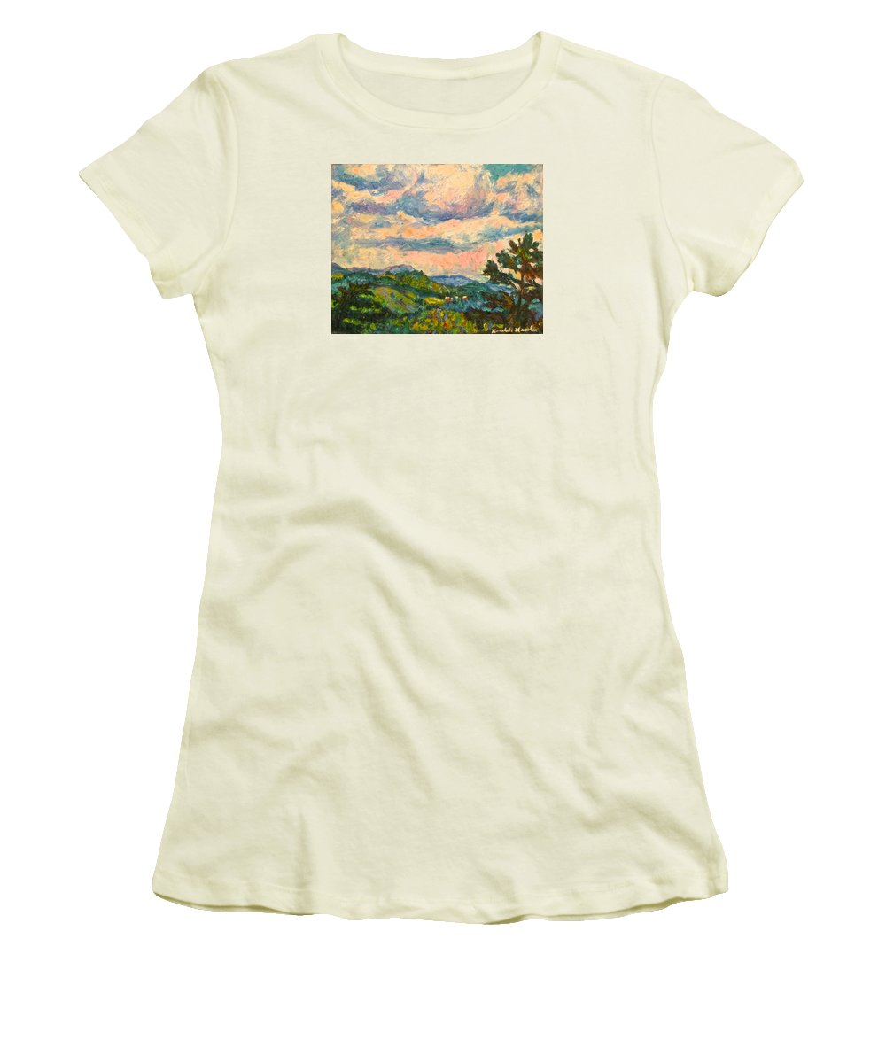 Landscape Paintings Women's T-Shirt (Athletic Fit) featuring the painting Another Rocky Knob by Kendall Kessler