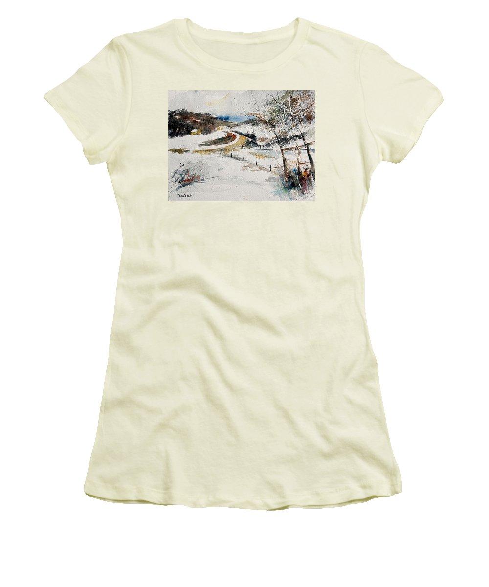 Landscape Women's T-Shirt (Athletic Fit) featuring the painting Aqua 220908 by Pol Ledent