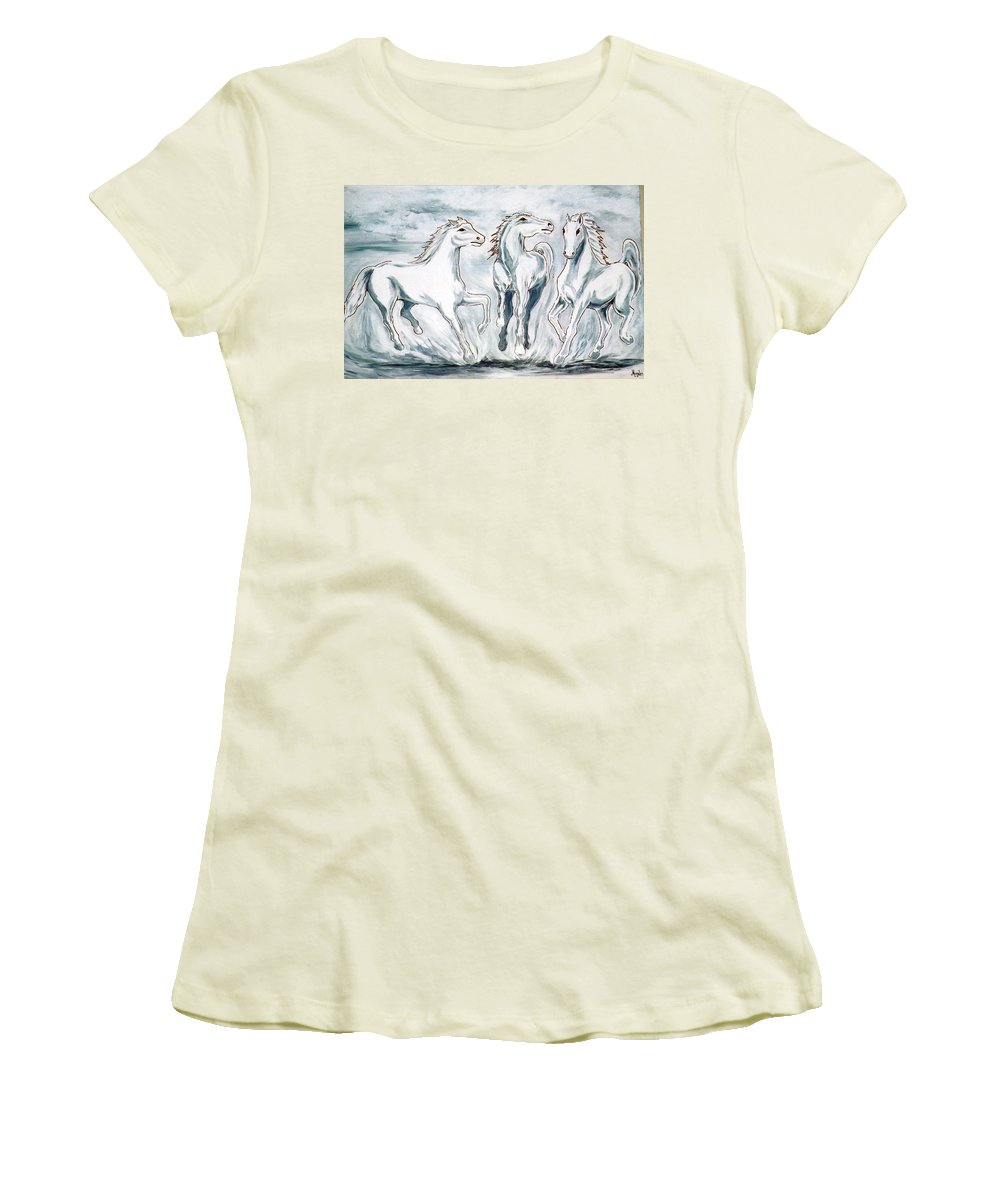 Horses Women's T-Shirt (Athletic Fit) featuring the painting Arabian Roots by Marco Morales
