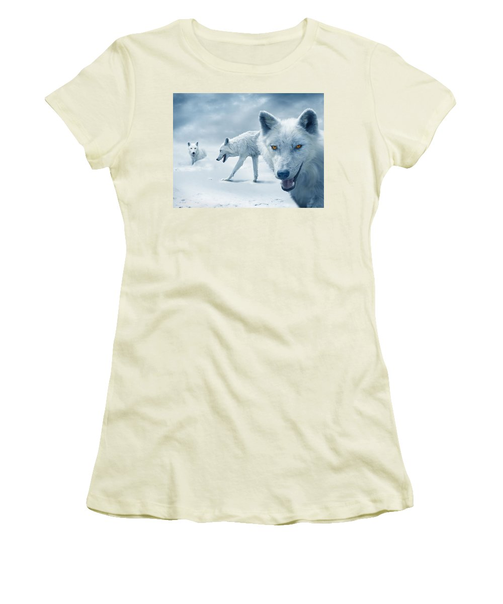 Arctic Women's T-Shirt (Athletic Fit) featuring the photograph Arctic Wolves by Mal Bray