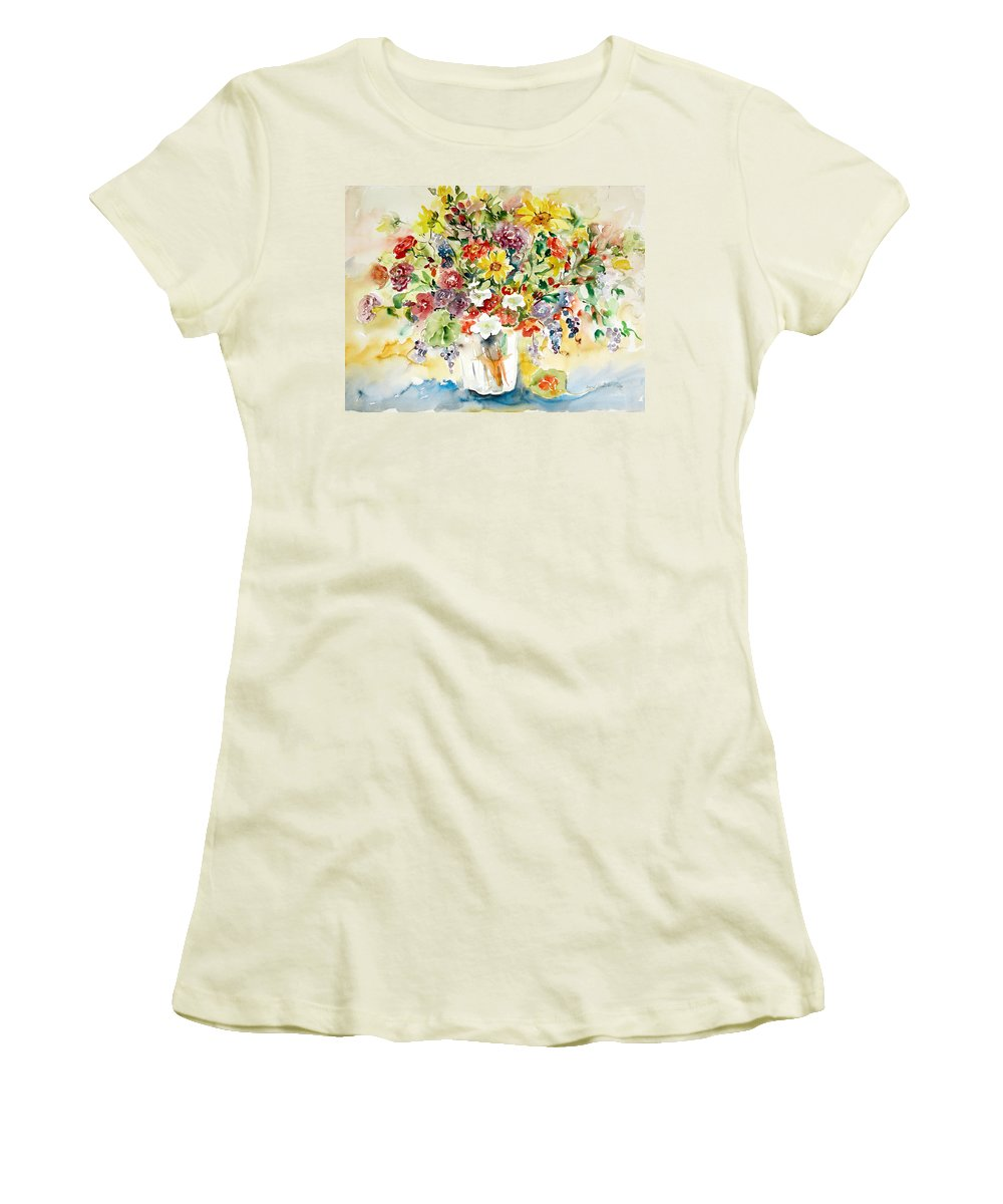 Watercolor Women's T-Shirt (Athletic Fit) featuring the painting Arrangement IIi by Alexandra Maria Ethlyn Cheshire
