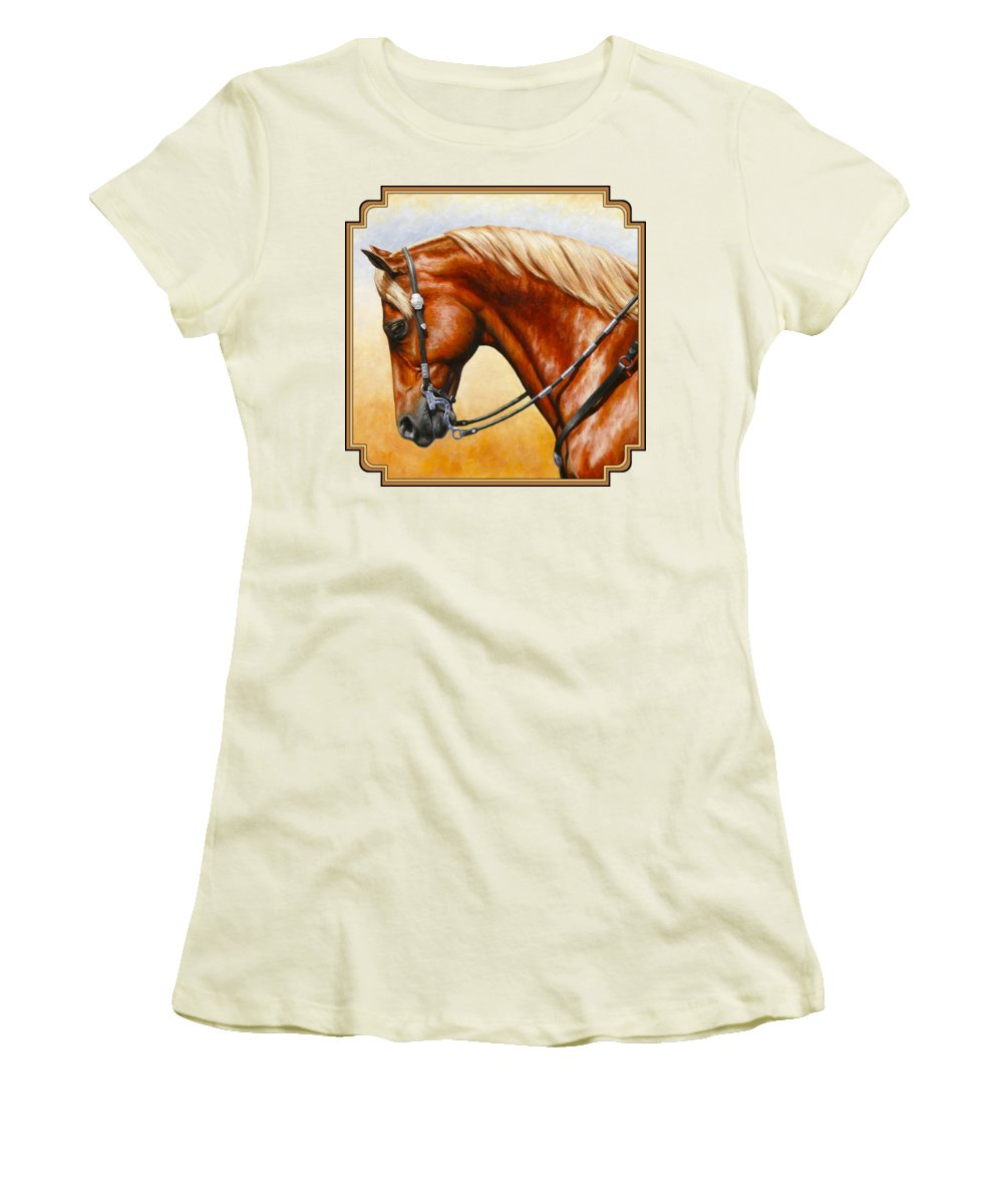 Horse Women's T-Shirt (Junior Cut) featuring the painting Precision - Horse Painting by Crista Forest