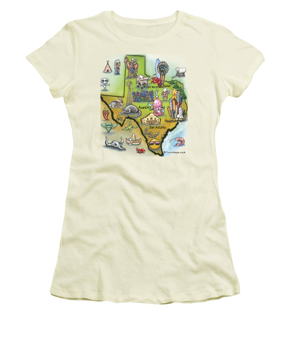 Texas Women's T-Shirt (Athletic Fit) featuring the digital art Texas Cartoon Map by Kevin Middleton