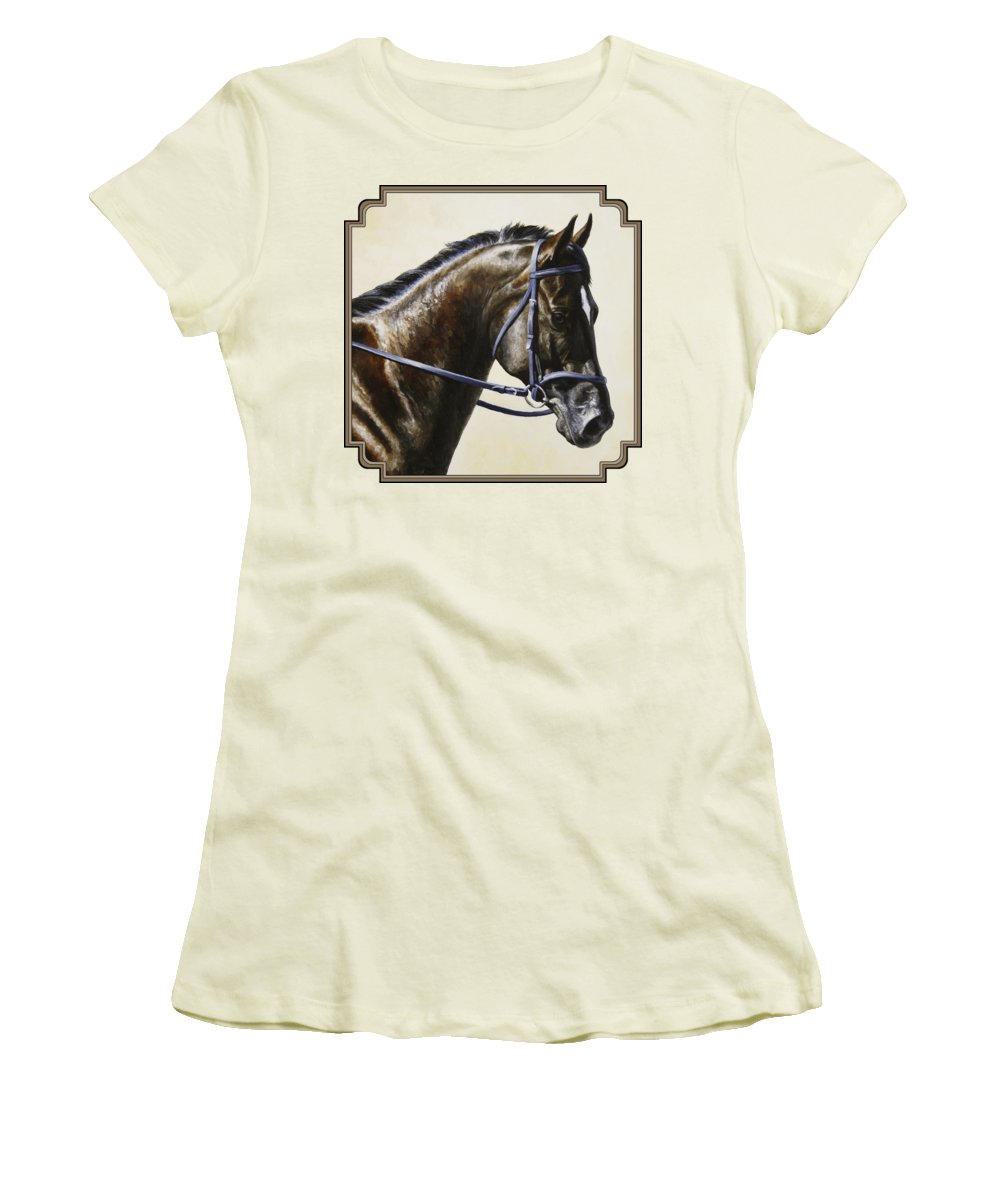 Horse Women's T-Shirt (Athletic Fit) featuring the painting Dressage Horse - Concentration by Crista Forest