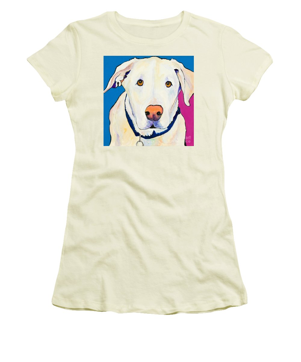 White Lab Yellow Lab Animal Paintings Golden Eyes Square Format Dogs Pets Rescued Women's T-Shirt (Athletic Fit) featuring the painting Aslinn by Pat Saunders-White
