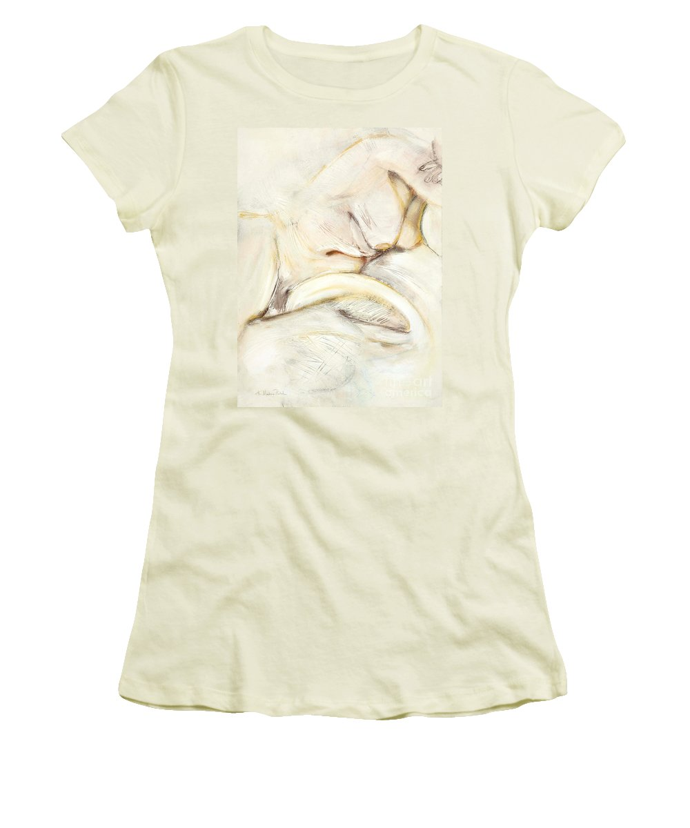 Female Women's T-Shirt (Athletic Fit) featuring the drawing Award Winning Abstract Nude by Kerryn Madsen-Pietsch