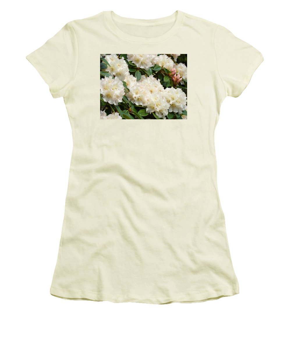 �azaleas Artwork� Women's T-Shirt (Athletic Fit) featuring the photograph Azaleas Rhodies Landscape White Pink Rhododendrum Flowers 8 Giclee Art Prints Baslee Troutman by Baslee Troutman