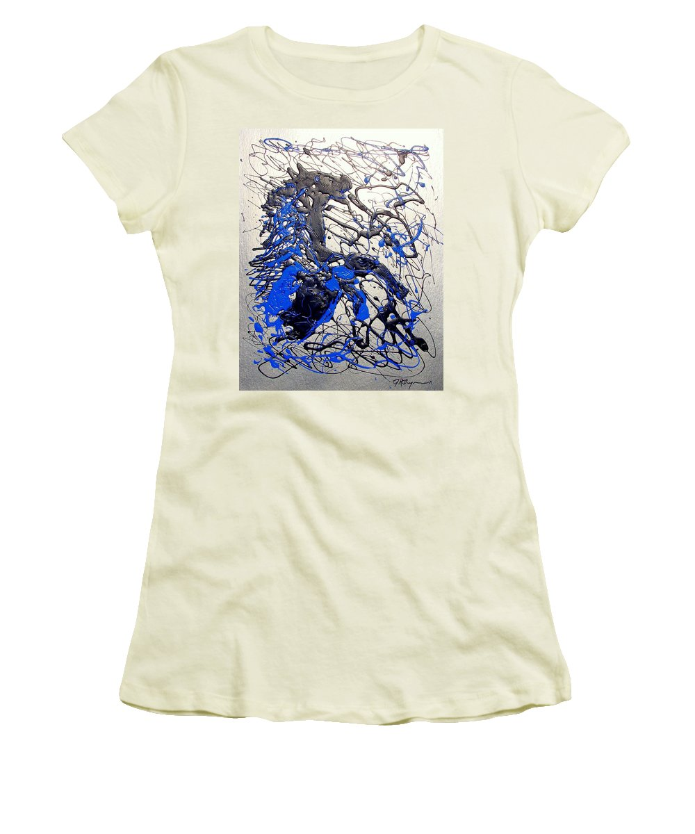 Stallion Horse Women's T-Shirt (Athletic Fit) featuring the painting Azul Diablo by J R Seymour