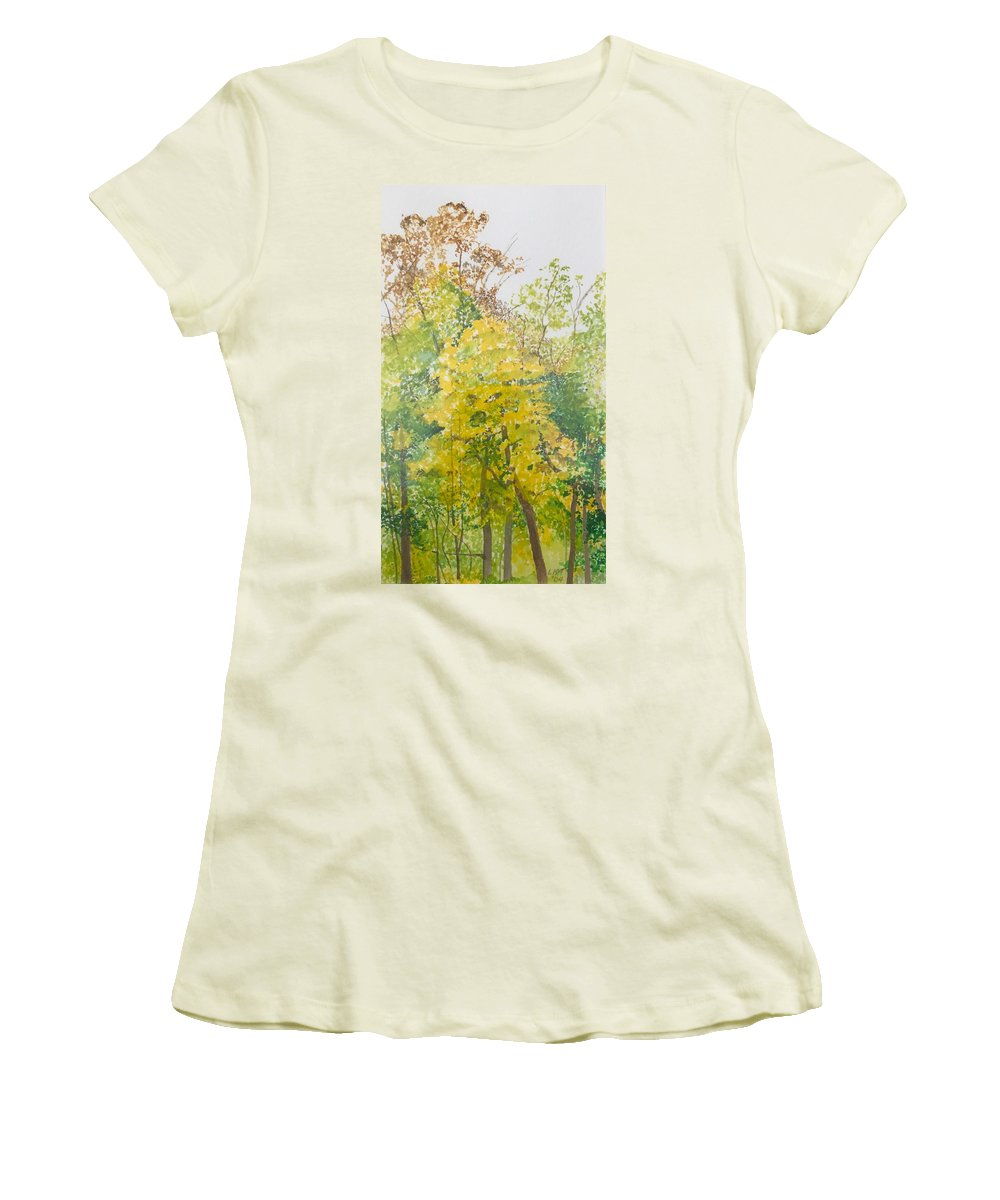 Autumn Women's T-Shirt (Athletic Fit) featuring the painting Backyard by Leah Tomaino