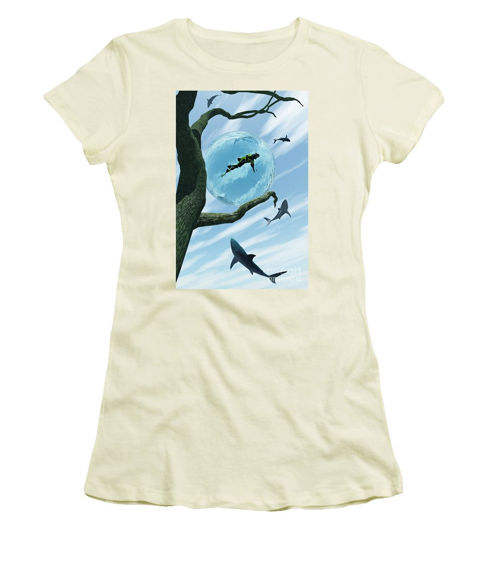 Surreal Women's T-Shirt (Athletic Fit) featuring the digital art Bait by Richard Rizzo