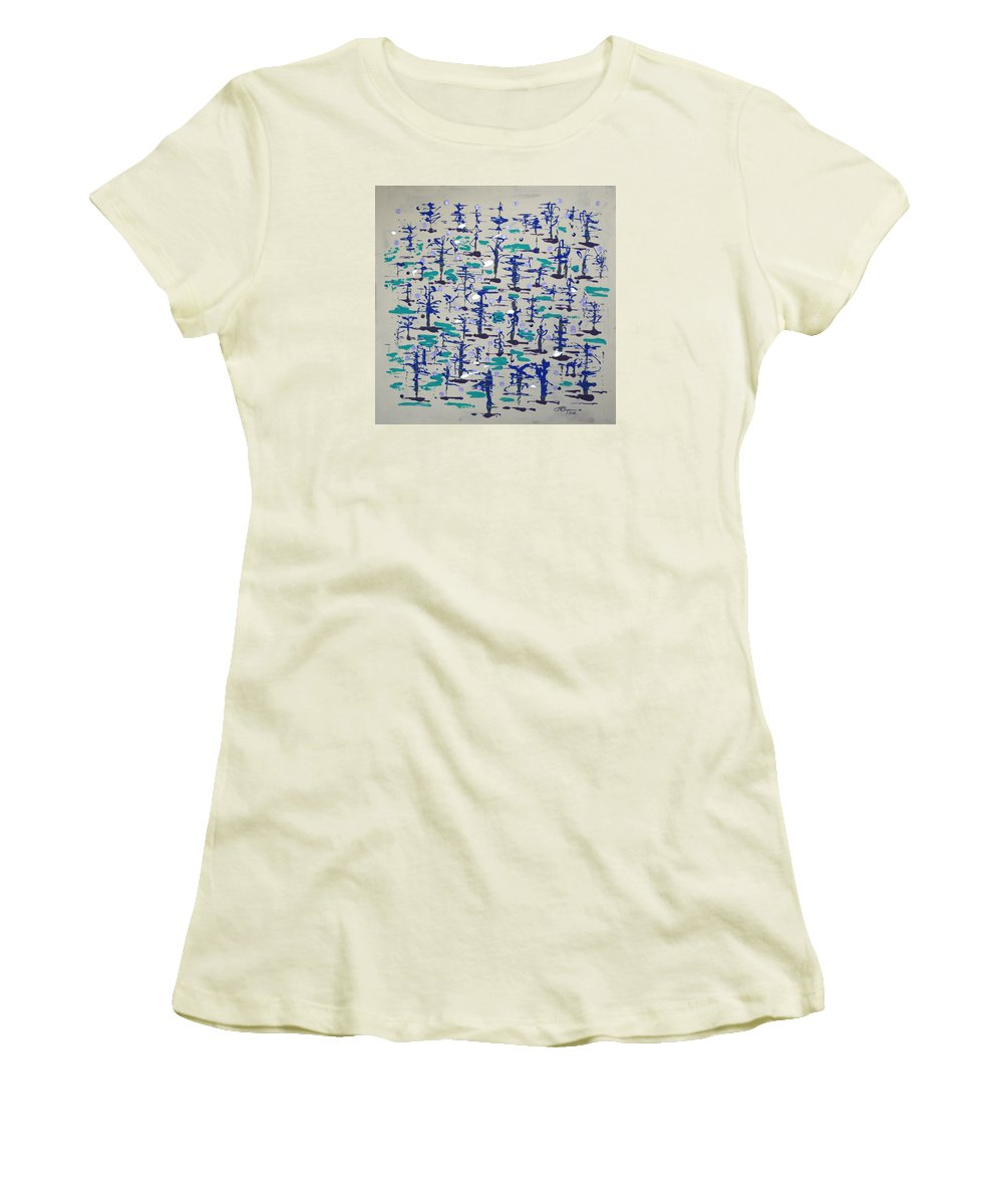 Abstract Women's T-Shirt (Athletic Fit) featuring the painting Bare Trees by J R Seymour