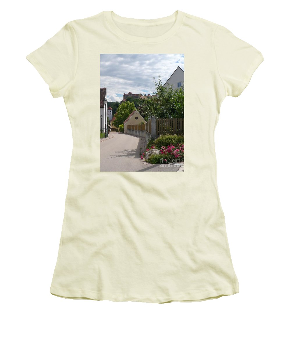 Castle Women's T-Shirt (Athletic Fit) featuring the photograph Bavarian Village With Castle View by Carol Groenen