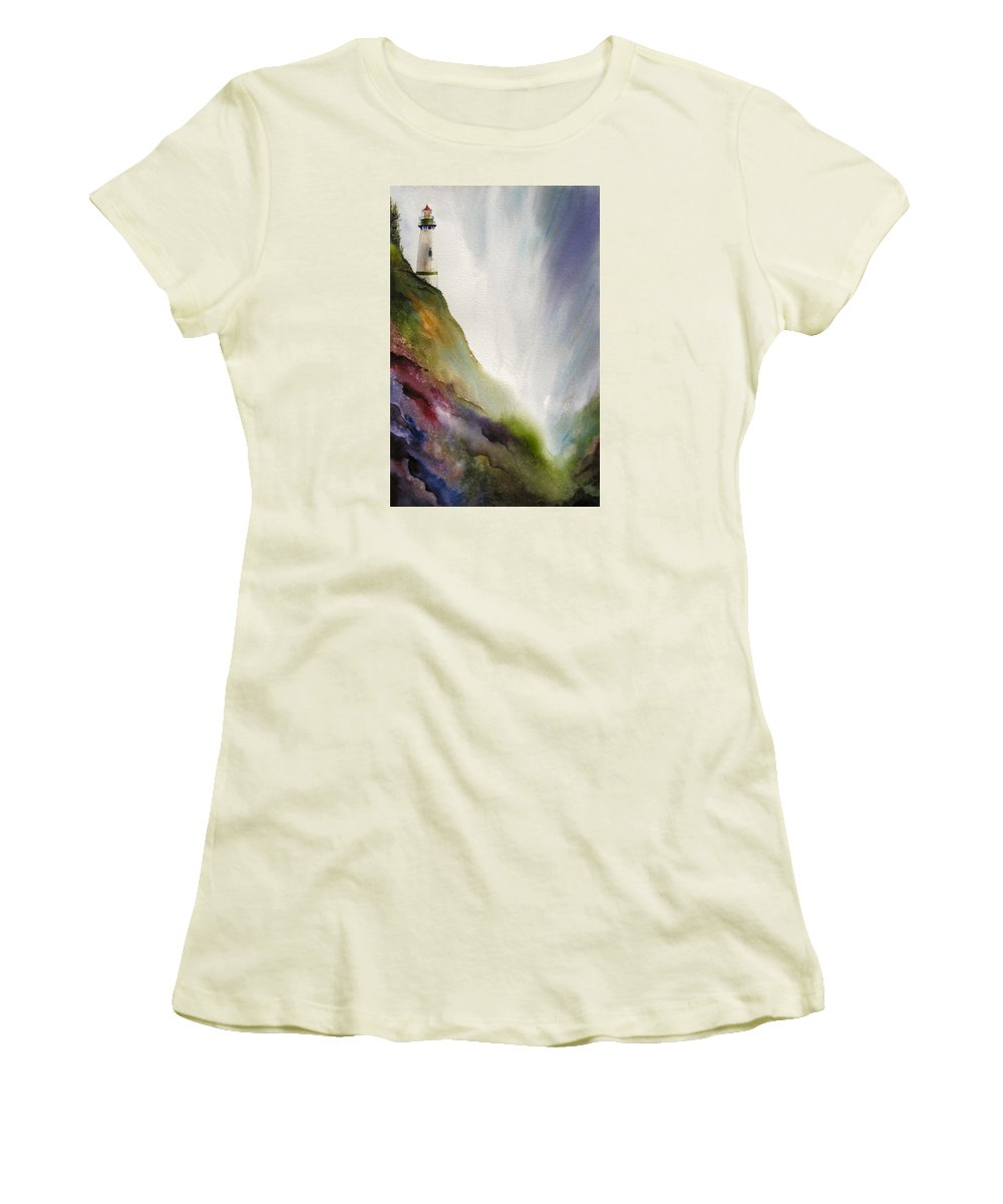 Lighthouse Women's T-Shirt (Athletic Fit) featuring the painting Beacon by Karen Stark