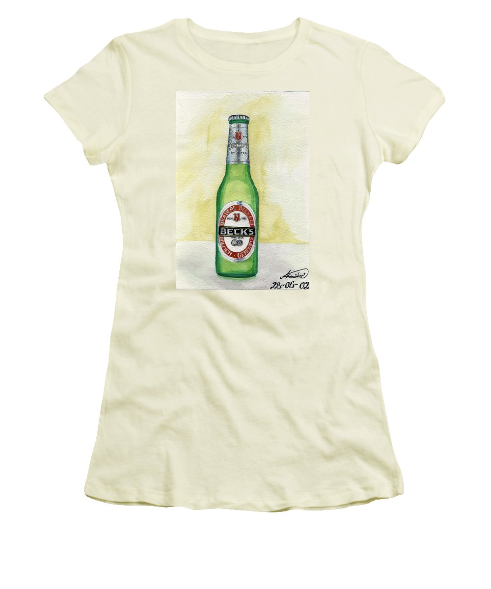 Botle Women's T-Shirt (Athletic Fit) featuring the painting Becks by Alban Dizdari