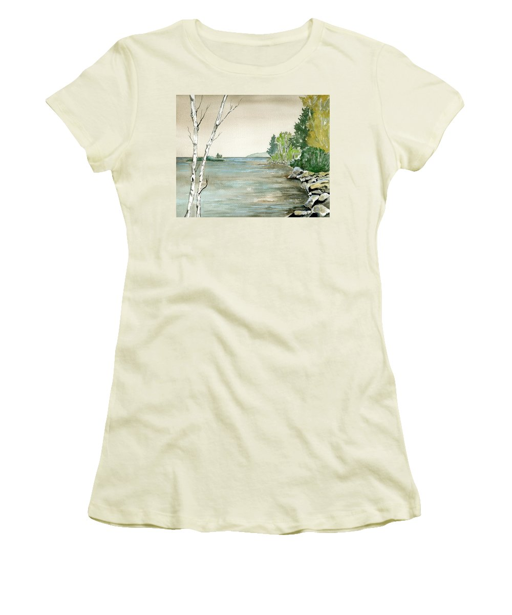 Landscape Watercolor Birches Trees Lake Pond Water Sky Rocks Women's T-Shirt (Athletic Fit) featuring the painting Birches By The Lake by Brenda Owen