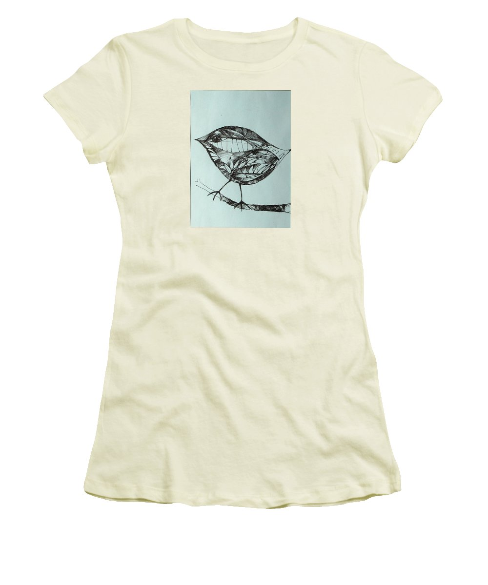 Artwork Women's T-Shirt (Athletic Fit) featuring the drawing Bird On A Brench by Cristina Rettegi