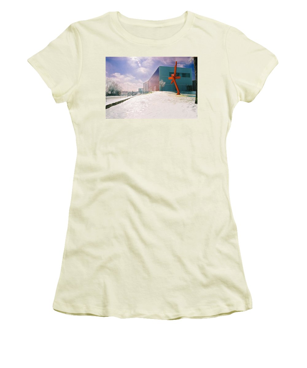 Landscape Women's T-Shirt (Athletic Fit) featuring the photograph Bloch Building At The Nelson Atkins Museum by Steve Karol