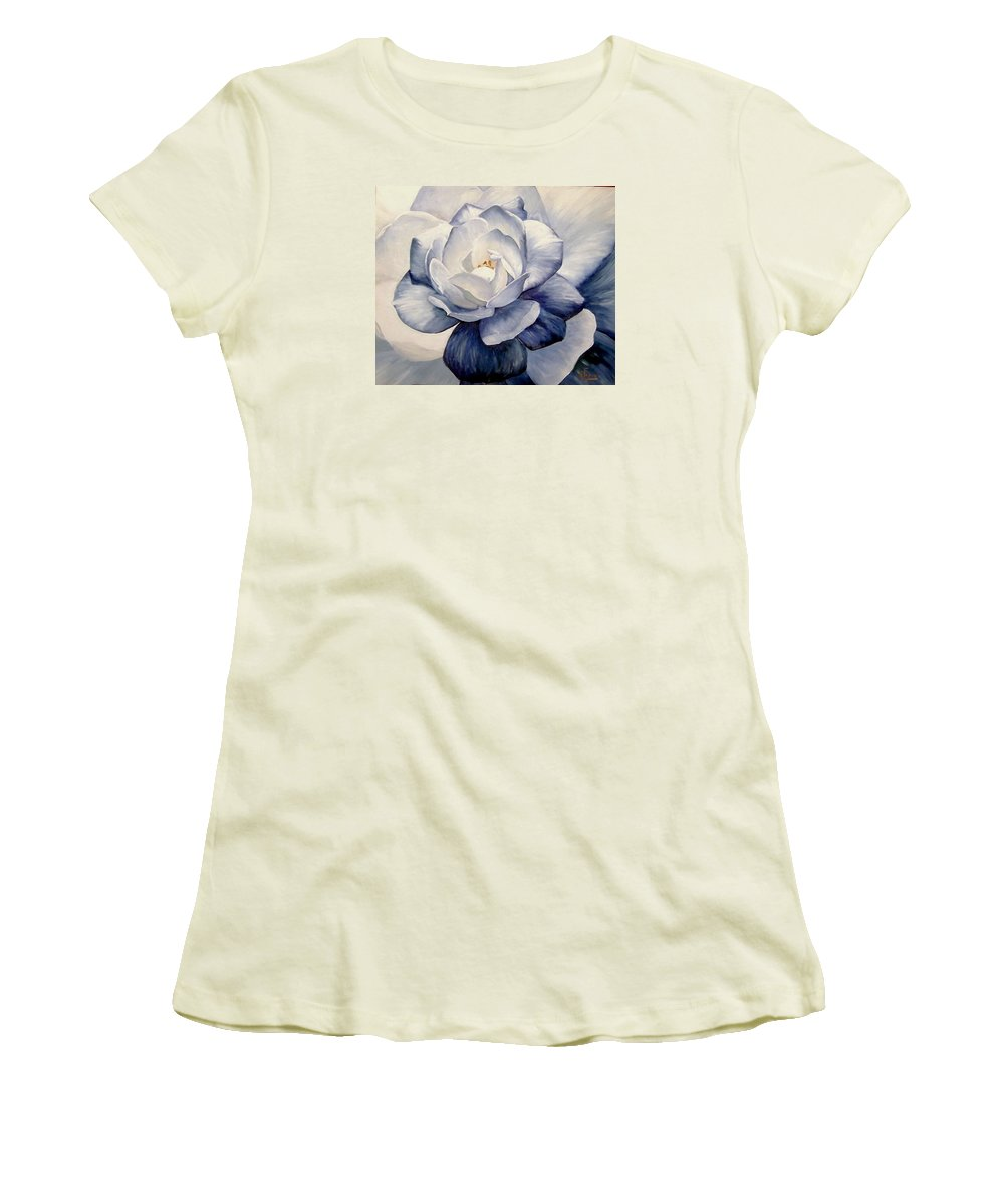 Flower Macro Nature Blue Gardenia Women's T-Shirt (Athletic Fit) featuring the painting Blue by Natalia Tejera