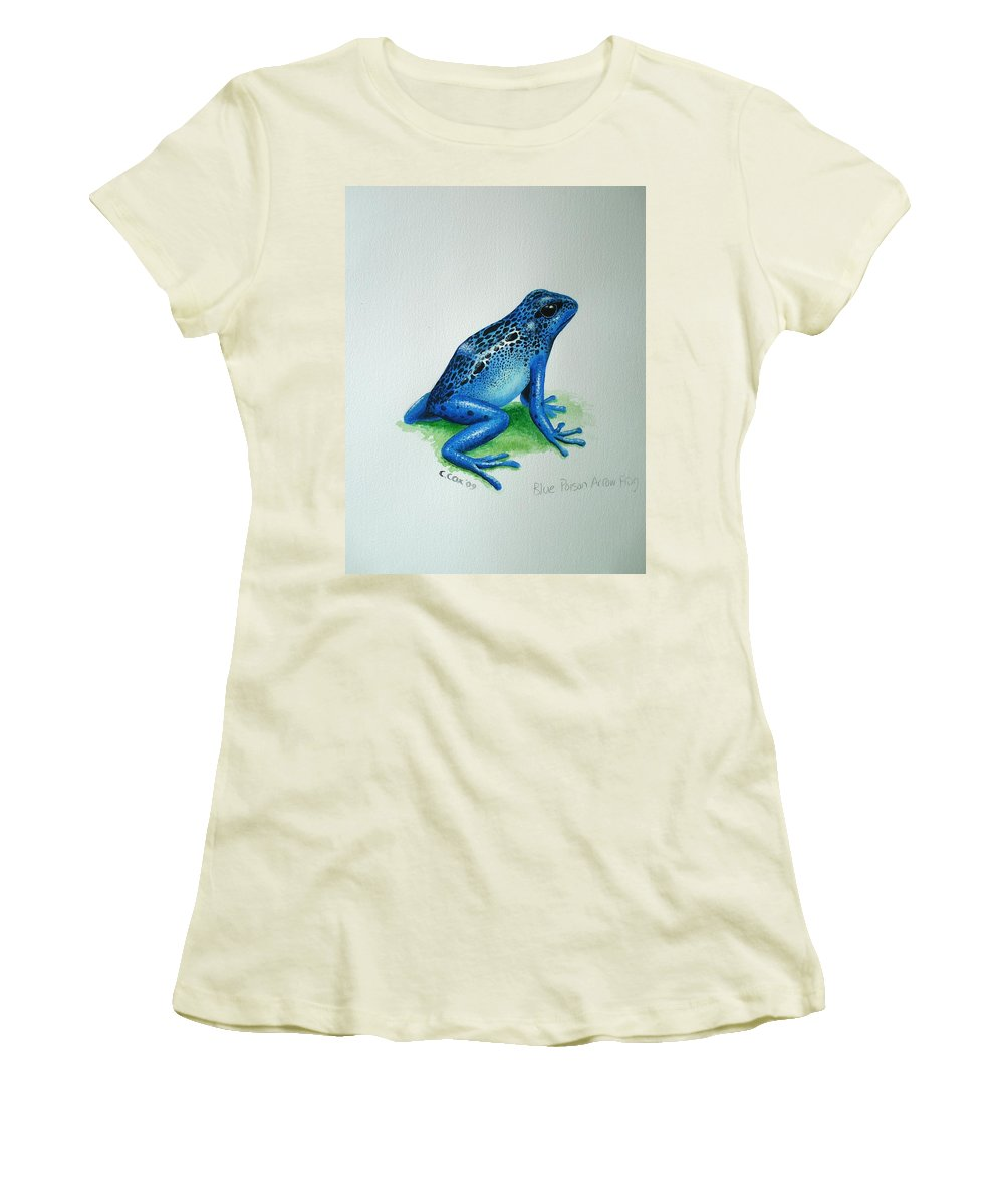 Poison Arrow Frog Women's T-Shirt (Athletic Fit) featuring the painting Blue Poison Arrow Frog by Christopher Cox