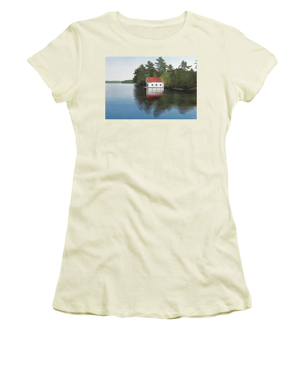 Canoe Women's T-Shirt (Athletic Fit) featuring the painting Boathouse by Kenneth M Kirsch