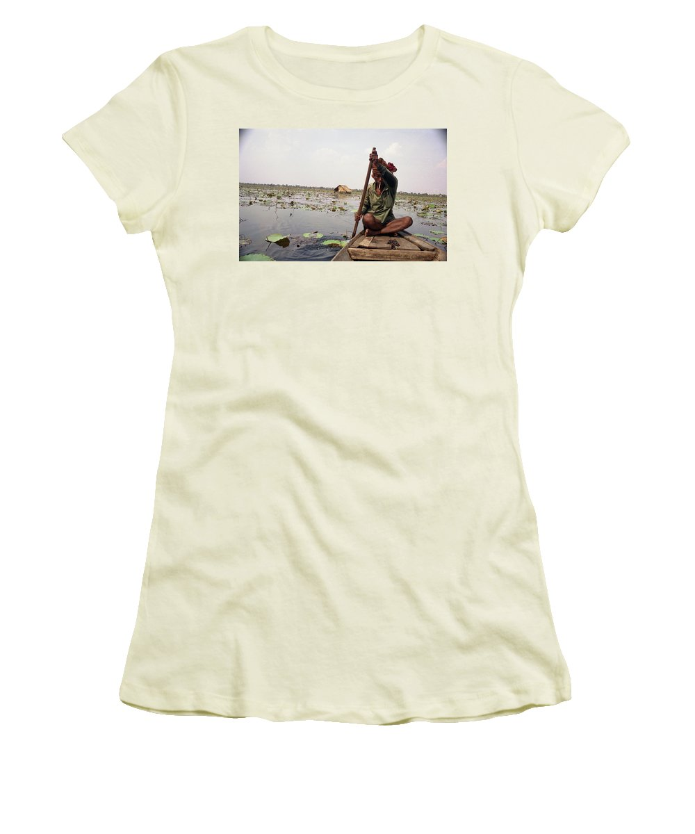 Cambodia Women's T-Shirt (Athletic Fit) featuring the photograph Boatman - Battambang by Patrick Klauss