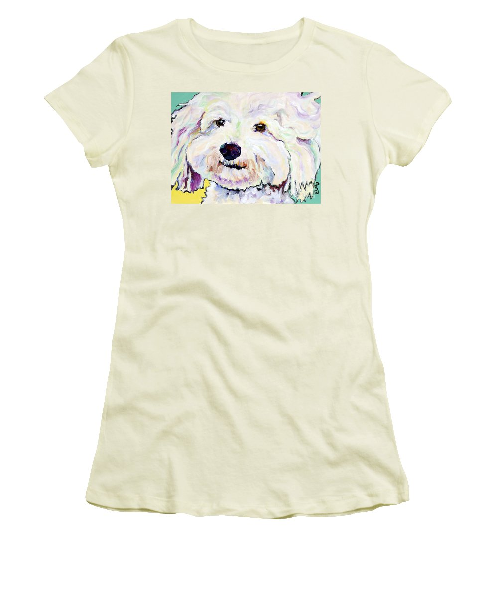 Bischon Women's T-Shirt (Athletic Fit) featuring the painting Buttons  by Pat Saunders-White