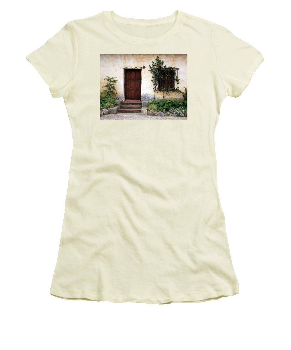 Carmel Mission Women's T-Shirt (Athletic Fit) featuring the photograph Carmel Mission Door by Carol Groenen