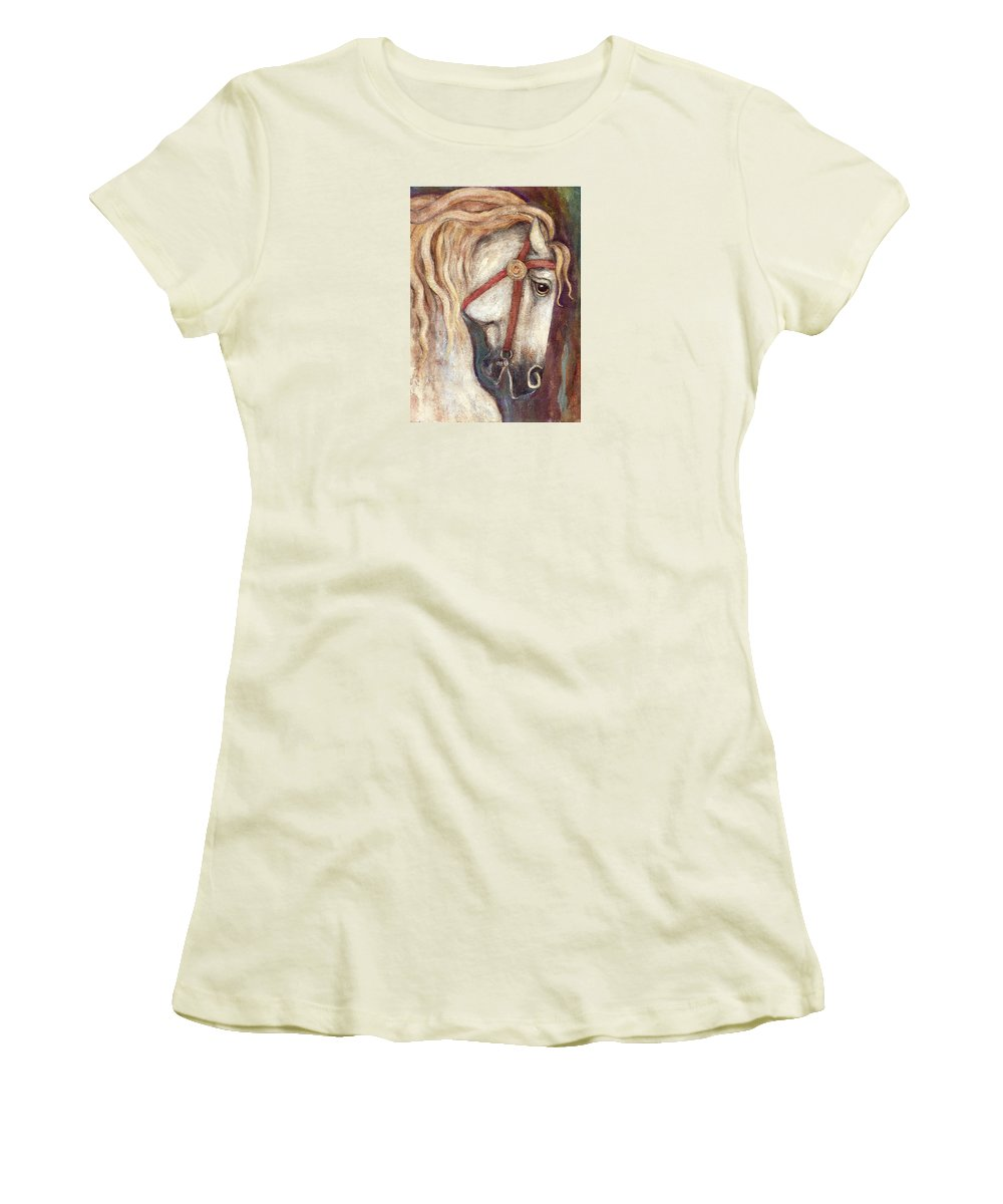 Horse Painting Women's T-Shirt (Athletic Fit) featuring the painting Carousel Horse Painting by Frances Gillotti