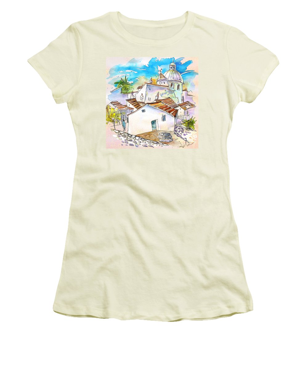 Water Colour Travel Sketch Castro Marim Portugal Algarve Miki Women's T-Shirt (Athletic Fit) featuring the painting Castro Marim Portugal 05 by Miki De Goodaboom
