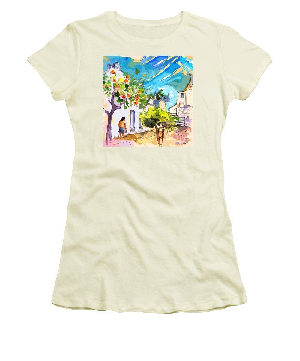 Castro Marim Portugal Algarve Painting Travel Sketch Women's T-Shirt (Athletic Fit) featuring the painting Castro Marim Portugal 15 Bis by Miki De Goodaboom