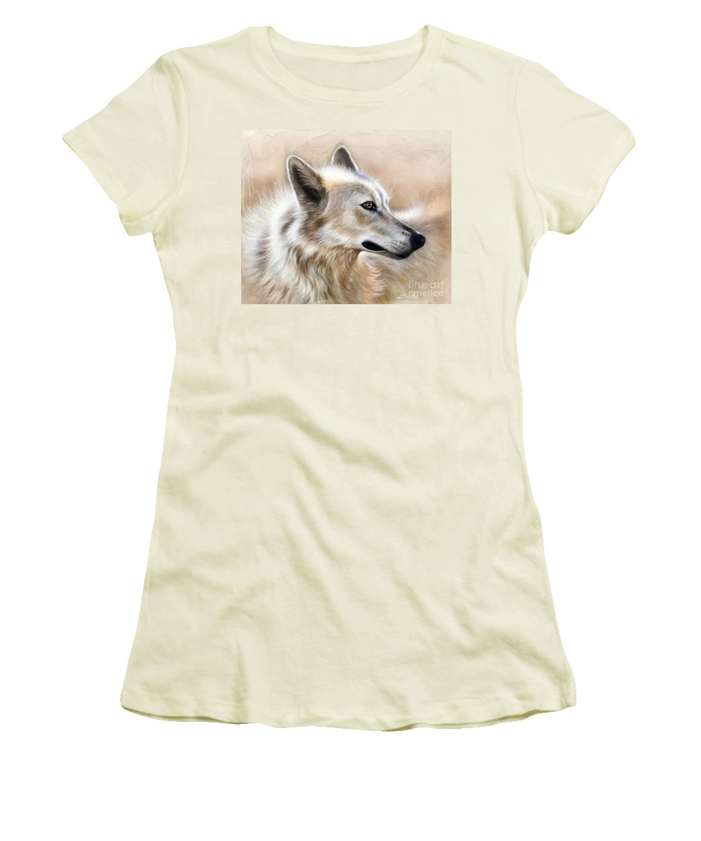 Acrylic Women's T-Shirt (Athletic Fit) featuring the painting Cheyenne by Sandi Baker
