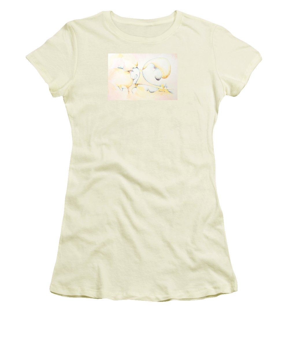 Women's T-Shirt (Athletic Fit) featuring the painting Circular Thoughts by Dave Martsolf