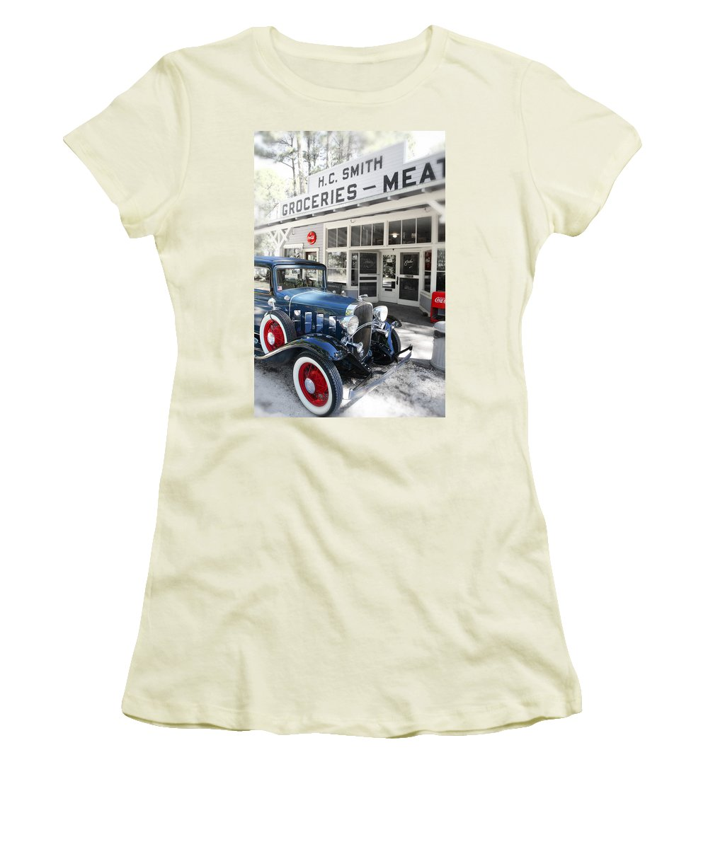 Chevy Women's T-Shirt (Athletic Fit) featuring the photograph Classic Chevrolet Automobile Parked Outside The Store by Mal Bray