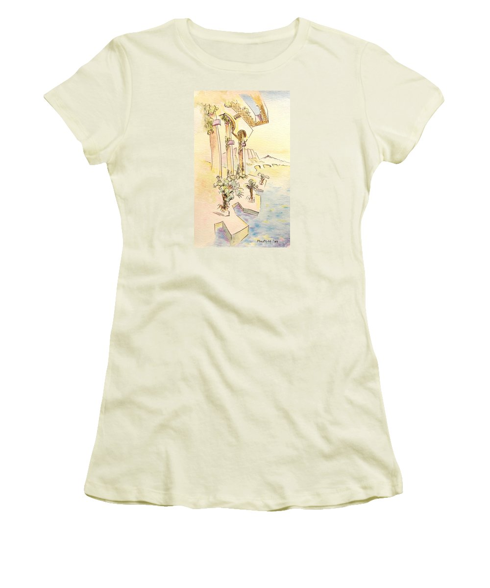 Italian Women's T-Shirt (Athletic Fit) featuring the painting Classic Summer Morning by Dave Martsolf