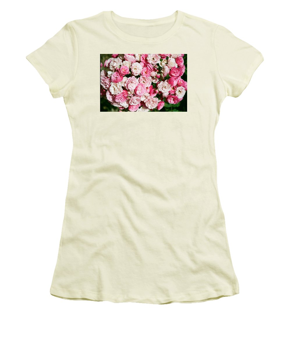 Rose Women's T-Shirt (Athletic Fit) featuring the photograph Cluster Of Roses by Dean Triolo