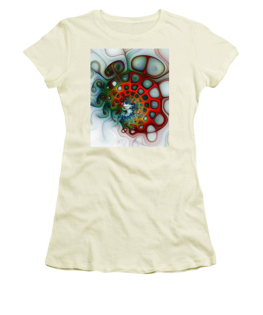 Digital Art Women's T-Shirt (Athletic Fit) featuring the digital art Convolutions by Amanda Moore