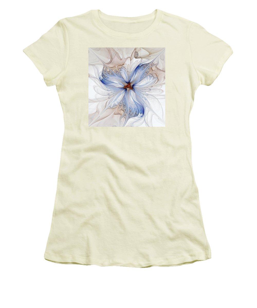 Digital Art Women's T-Shirt (Athletic Fit) featuring the digital art Cornflower Blues by Amanda Moore