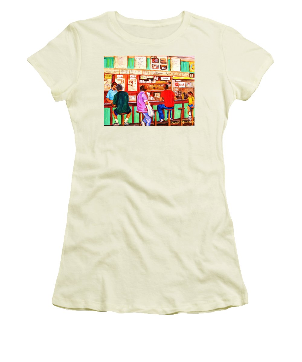 Montreal Women's T-Shirt (Athletic Fit) featuring the painting Counter Culture by Carole Spandau
