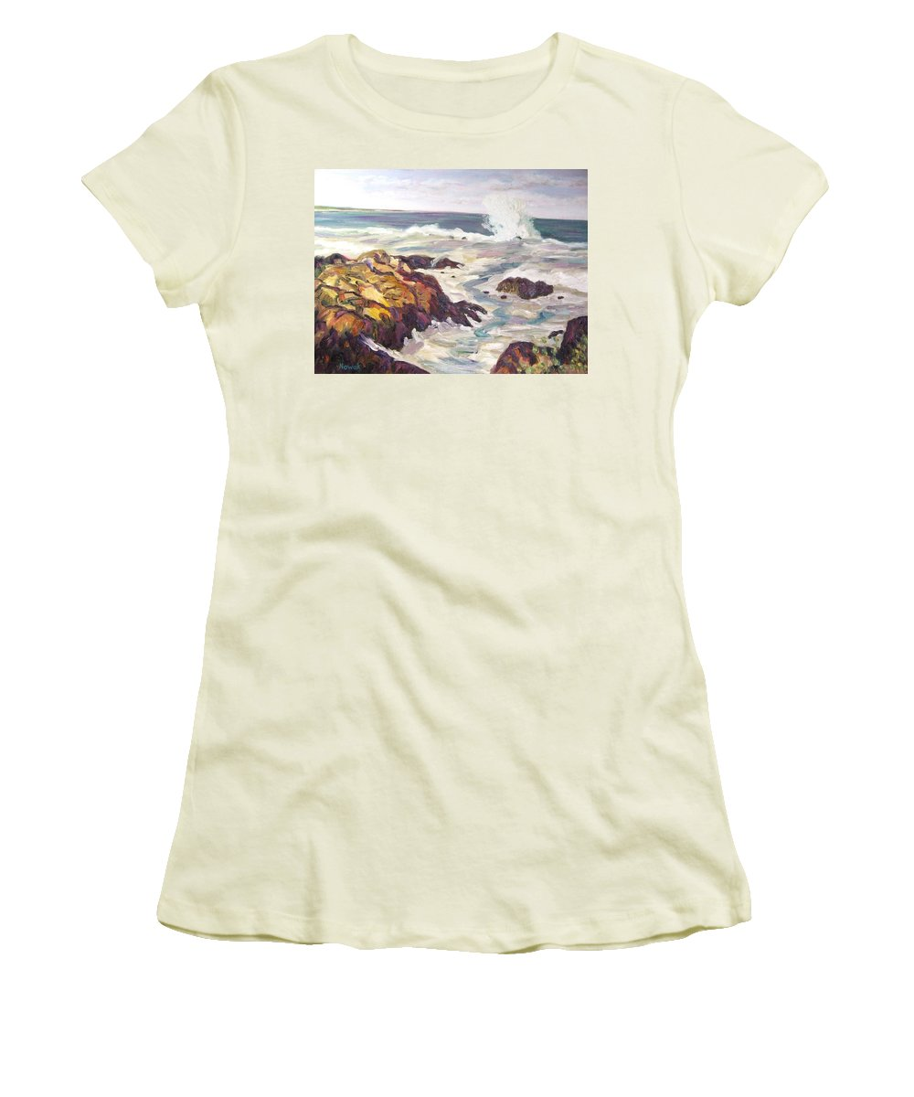 Water Women's T-Shirt (Athletic Fit) featuring the painting Crashing Wave On Maine Coast by Richard Nowak
