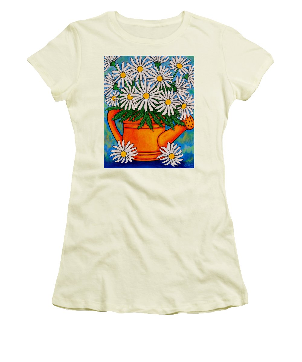 Daisies Women's T-Shirt (Athletic Fit) featuring the painting Crazy For Daisies by Lisa Lorenz