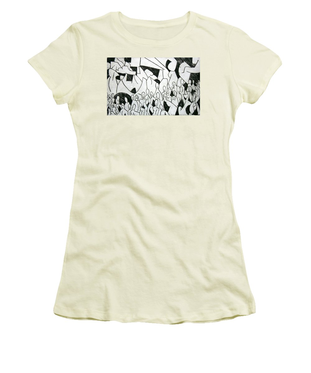 Etching Women's T-Shirt (Athletic Fit) featuring the print Crowd by Thomas Valentine